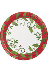 "creative converting Holiday Holly 9"" Plate - 8ct."