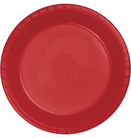 "35ct. 10"" Red Plastic Dinner Plates"