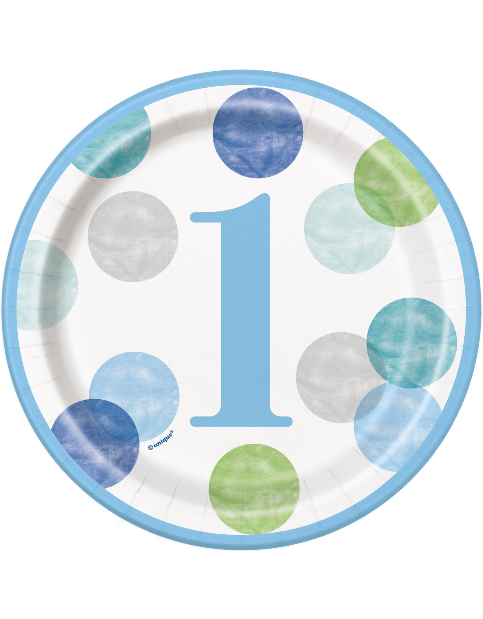 "unique 1st birthday Blue Dots 7"" Plate"