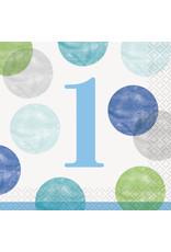 unique 1st Birthday Blue Dots Beverage Napkins