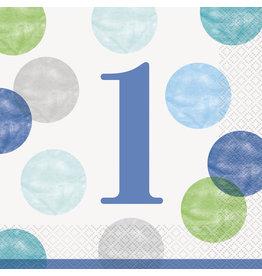 unique 1st Birthday Blue Dots Lunch Napkins