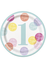 "unique 1st Birthday Pink Dots 7"" Plates"