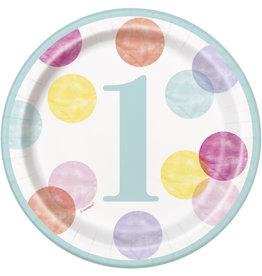 "unique 1st Birthday Pink Dots 7"" Plates"