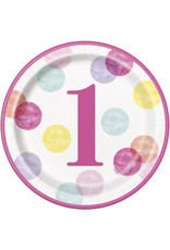 "unique 1st Birthday Pink Dots 9"" Plates"