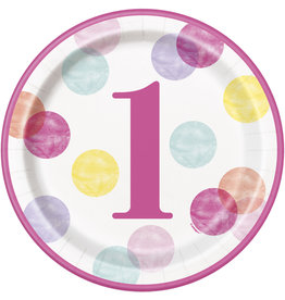 "unique 1st Birthday Pink Dots 9"" Plates"