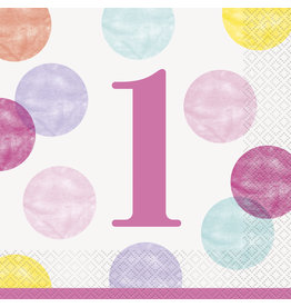 unique 1st Birthday Pink Dots Lunch Napkins