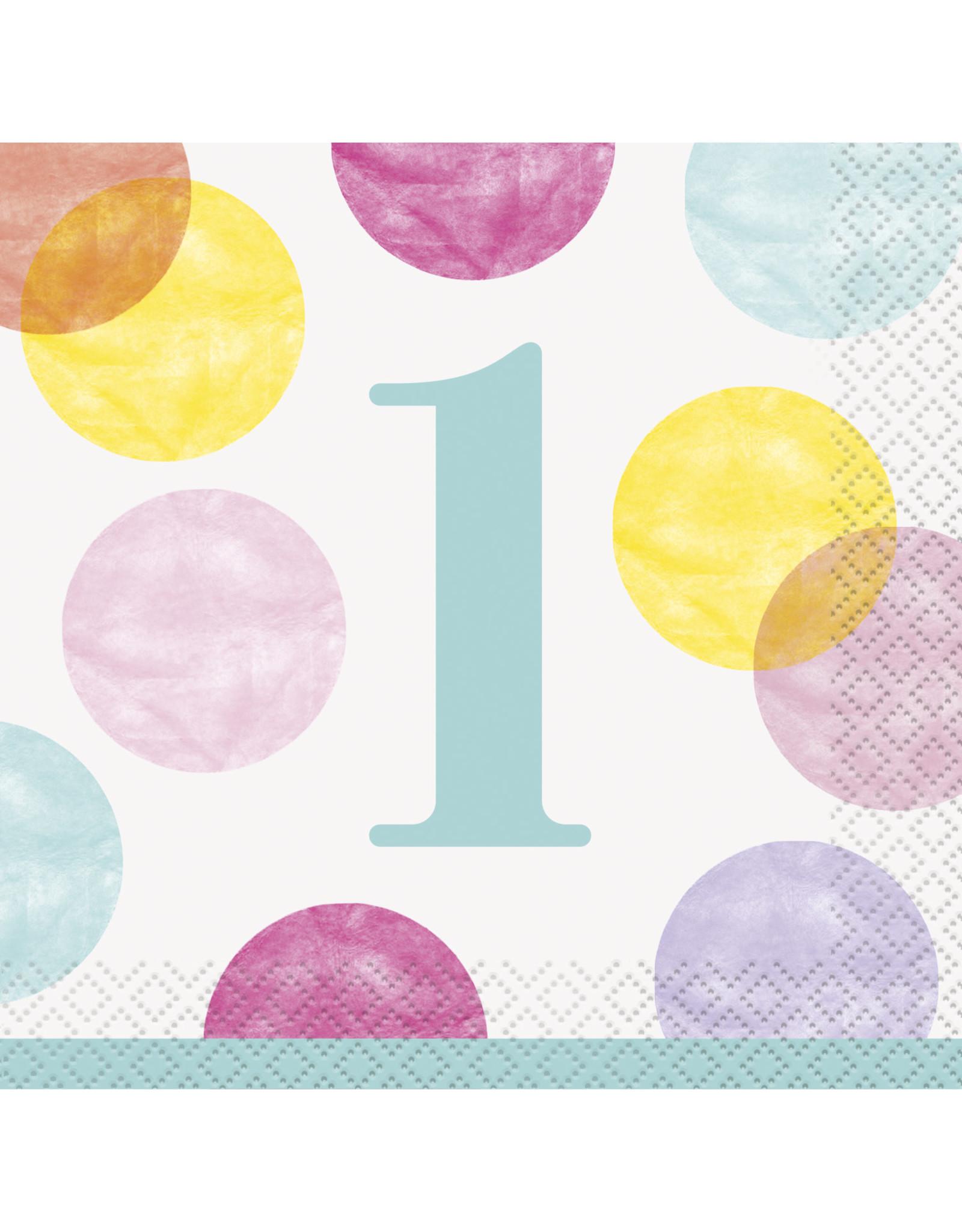 unique 1st Birthday Pink Dots Beverage Napkins