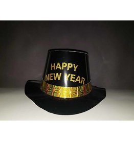 party club Happy New Year Black Top Hat w/ Gold Writing