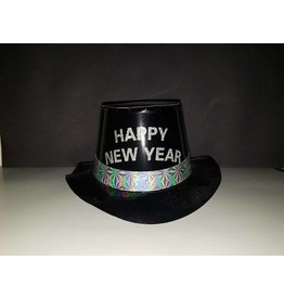 party club Happy New Year Black Top Hat w/ Silver Writing