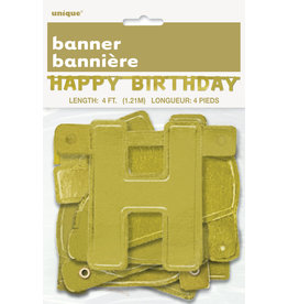 unique Gold Happy Birthday Banner