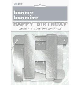 unique Silver Happy Birthday Banner - 4ft.