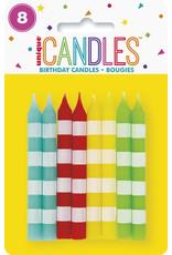 unique 8ct. Multi-Color Striped Candles