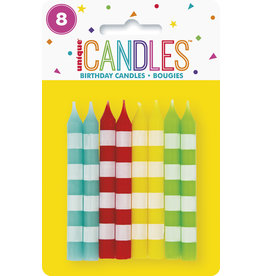 unique 8ct. Multi-Color Striped Candles