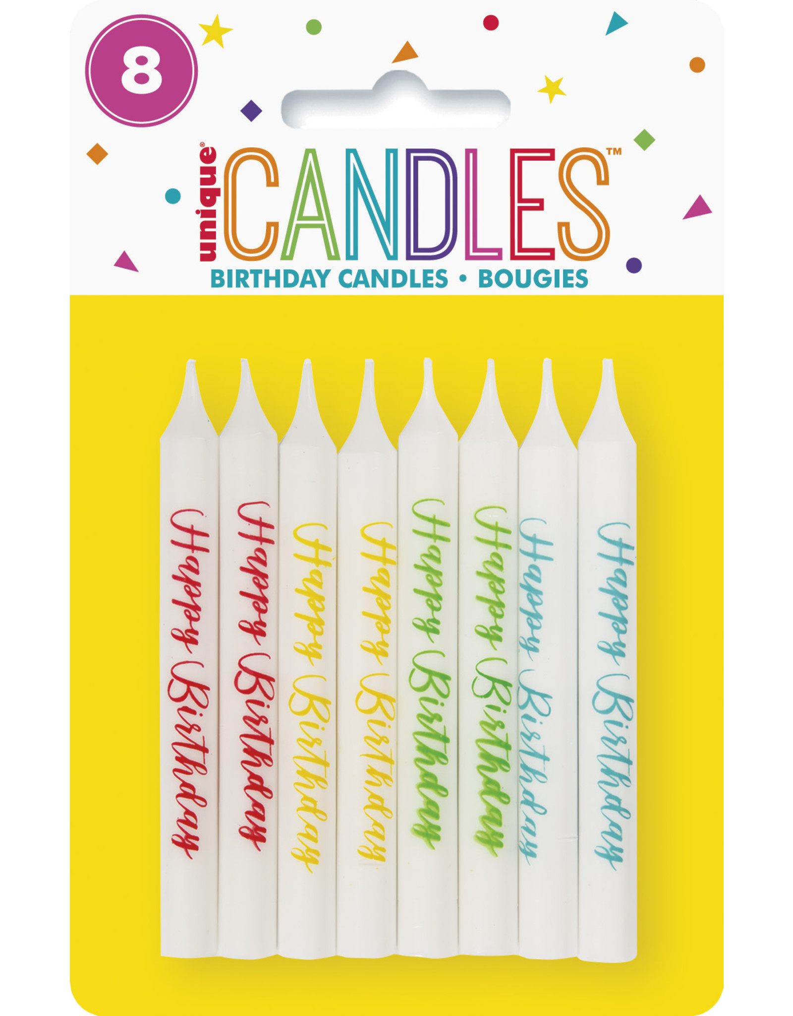 unique 8ct. HAPPY BIRTHDAY PRINTED CANDLES - ASST