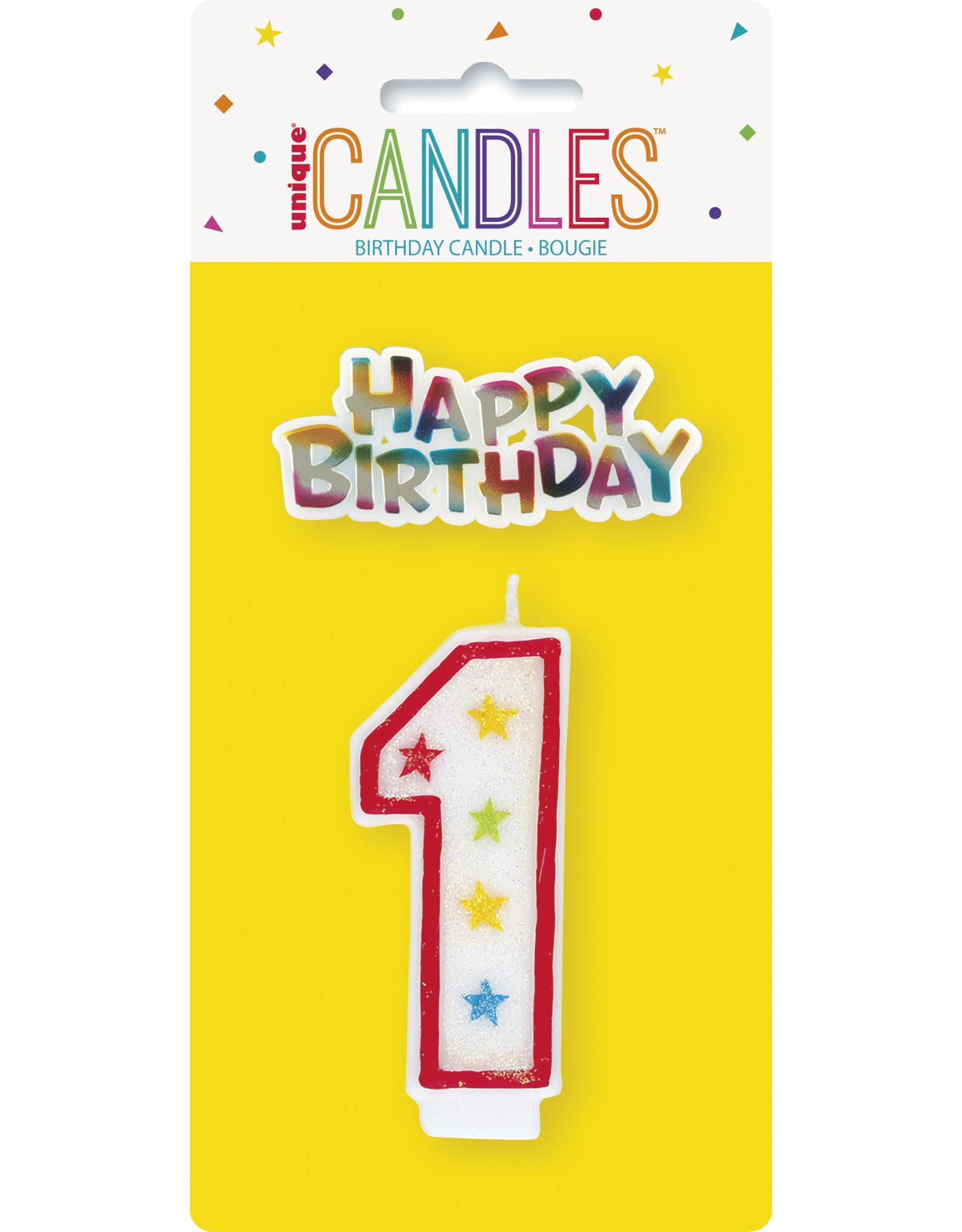 unique Glitter #1 Birthday Candle W/ Decoration