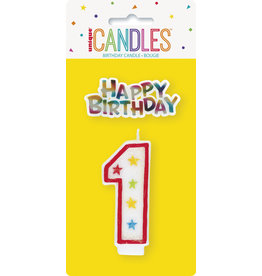 unique Glitter #1 Birthday Candle W/ Decoration