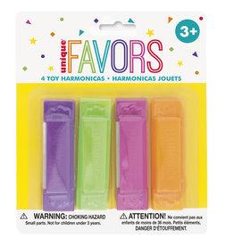 unique 4ct. Toy Harmonicas