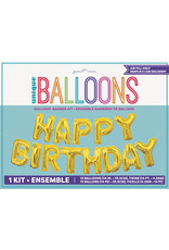 """unique Air Filled Happy Birthday Banner  - 14"""" Gold"""