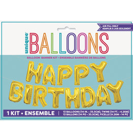 "unique Air Filled Happy Birthday Banner  - 14"" Gold"