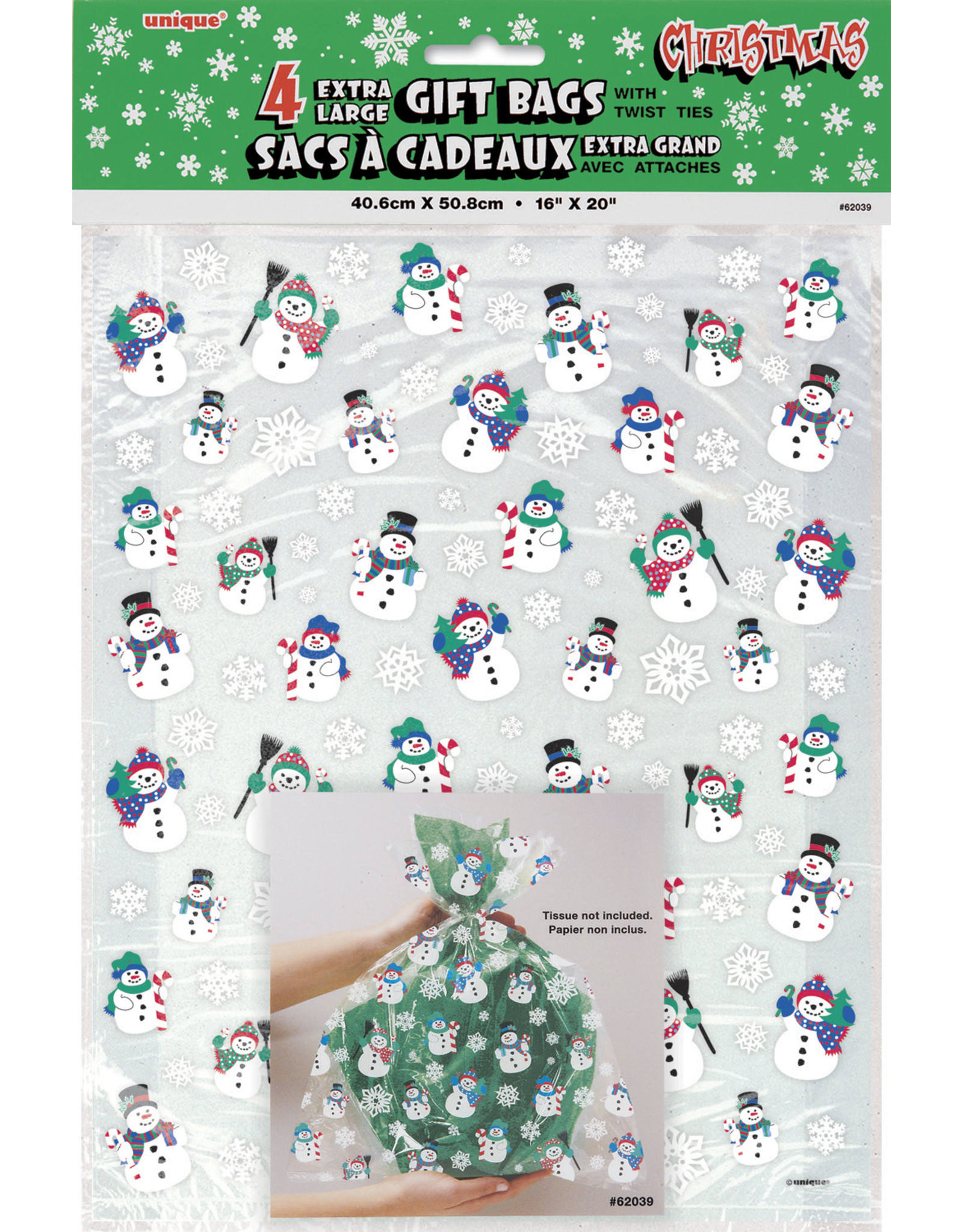 unique Extra Large Snowman Gift Bags - 4ct.