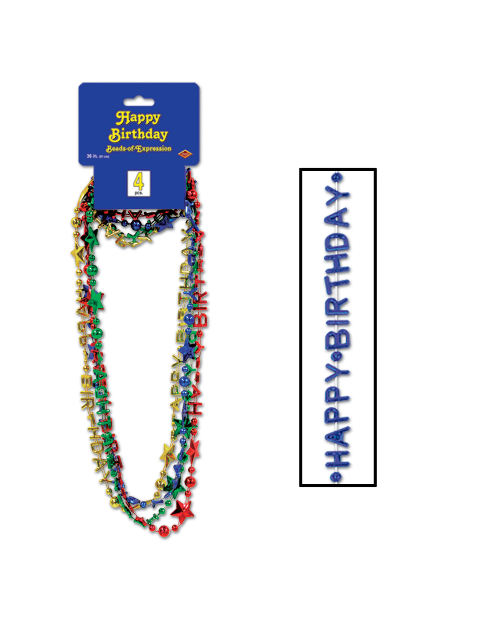 Happy Birthday Beads Asst. Color - 4ct.