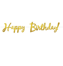 Beistle Gold Happy Birthday Script Banner - 5ft.