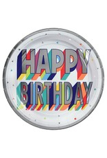 """Amscan Here's To Your Birthday 7""""  plate - 8ct."""
