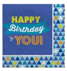 Amscan True Blue Bday Bev. Napkins - 16ct.