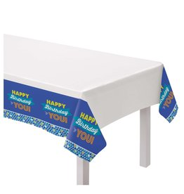 """Amscan True Blue BDay  Tablecover - 54"""" x 84"""""""
