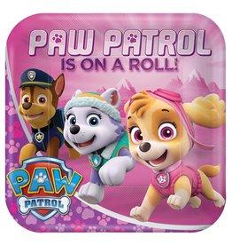 "Amscan Girl Paw Patrol 9"" Plate - 8ct."