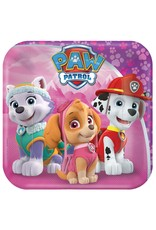 "Amscan Girl Paw Patrol 7"" Sq. Plate - 8ct."