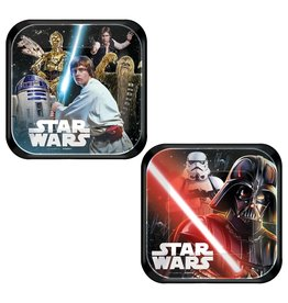 "Amscan Star Wars Classic Sq. 7"" Plate - 8ct."