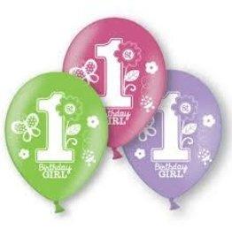 Amscan Sweet 1st Birthday Girl Latex Balloons - 15ct.