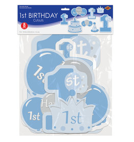 Beistle 2 Sided - 1st Birthday Boy Cutouts - 8ct.