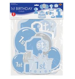 Beistle 2 Sided - 1st Birthday Boy Cutouts - 8ct.
