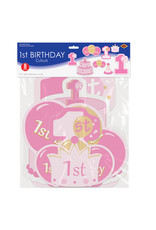 Beistle 2 Sided 1st birthday Girl Cutouts - 8ct.