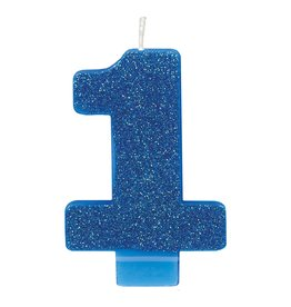Amscan Glitter Blue #1 Candle - 1ct.