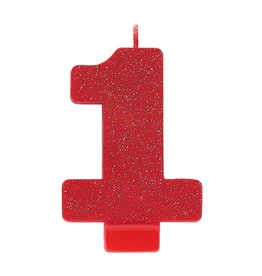 Amscan Red Glitter #1 Birthday Candle