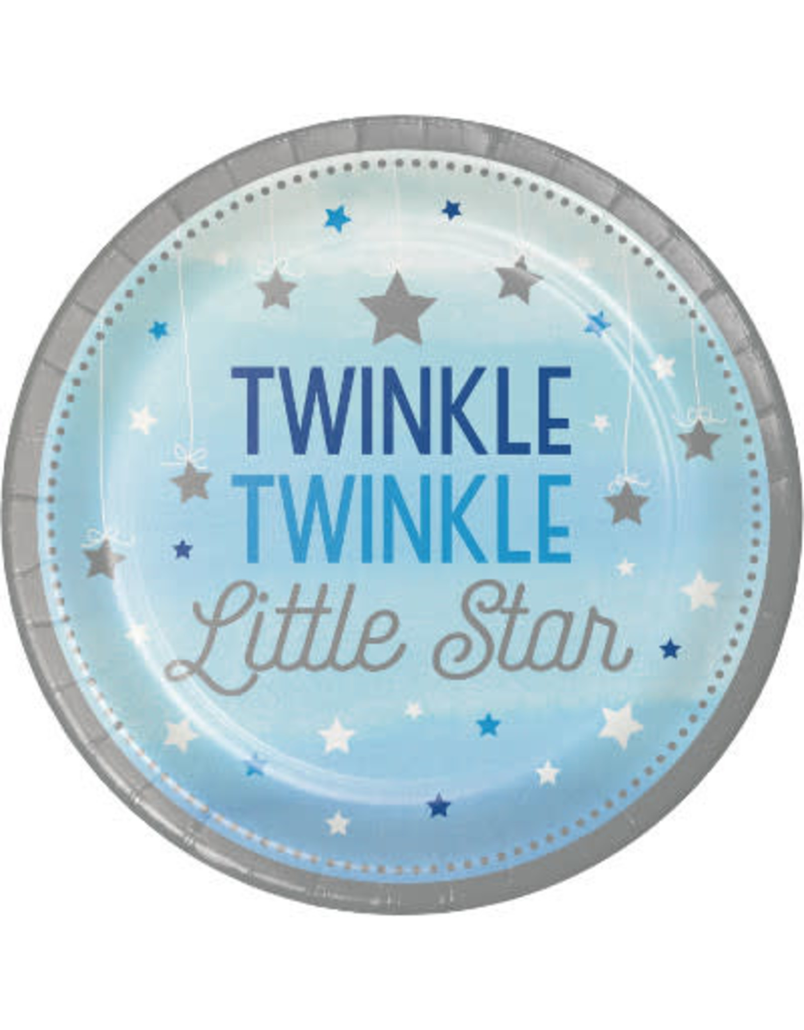 """Party Creations One Little Star - Boy 7"""" Twinkle Plate - 8ct."""