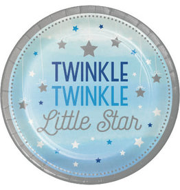 "Party Creations One Little Star - Boy 7"" Twinkle Plate - 8ct."