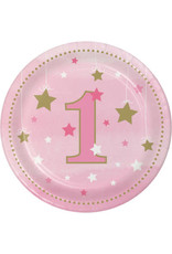 """Party Creations One Little Star - Girl  7"""" Plate - 8ct."""