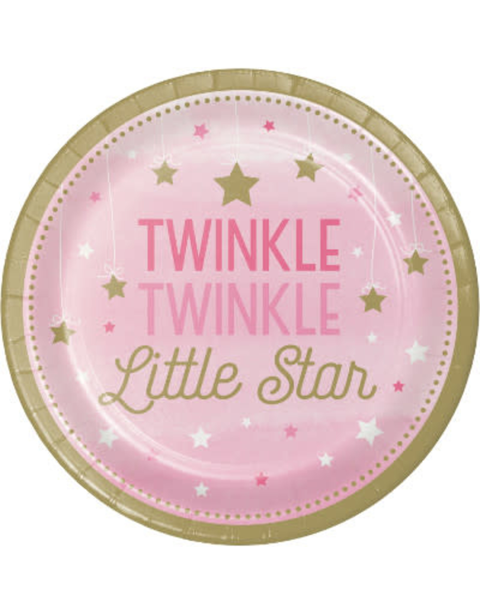 """Party Creations One Little Star - Girl 7"""" Twinkle Plate - 8ct."""