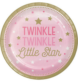 "Party Creations One Little Star - Girl 7"" Twinkle Plate - 8ct."