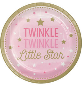 "Party Creations One Little Star - Girl 9"" Twinkle Plate - 8ct."
