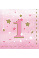 Party Creations One Little Star - Girl 1st Bday Lun, Napkins - 16ct.