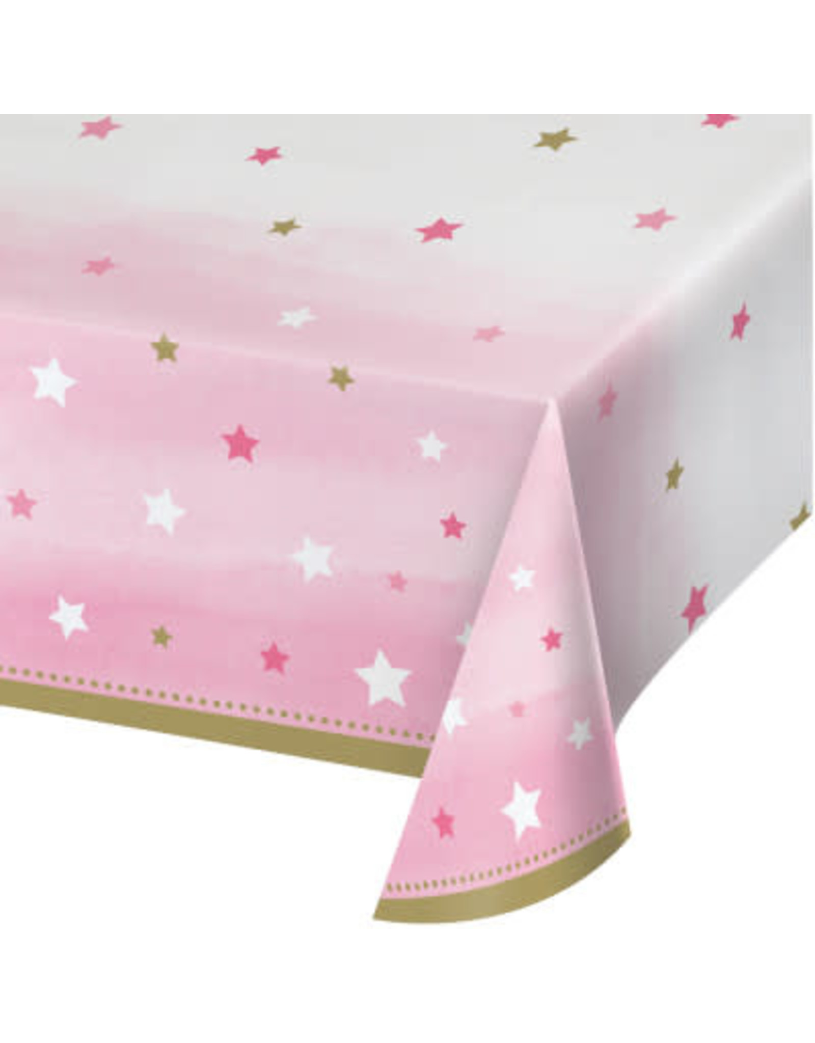 """Party Creations One Little Star - Girl Tablecover (54"""" x 102"""")"""