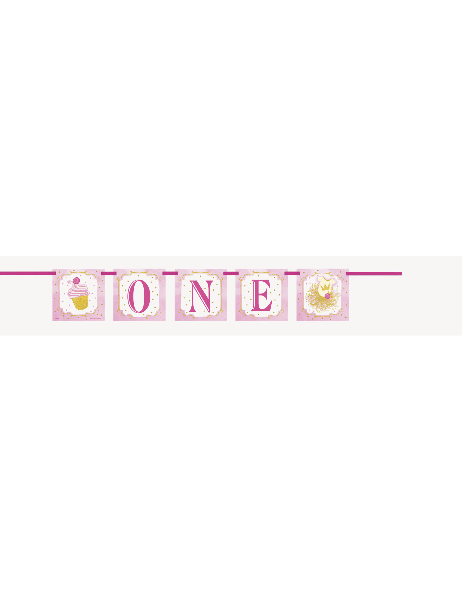 unique Pink & Gold 1st Birthday Banner - 4ft.