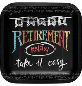 "PPART Retirement Chalk 7"" Lunch Plate - 8ct."