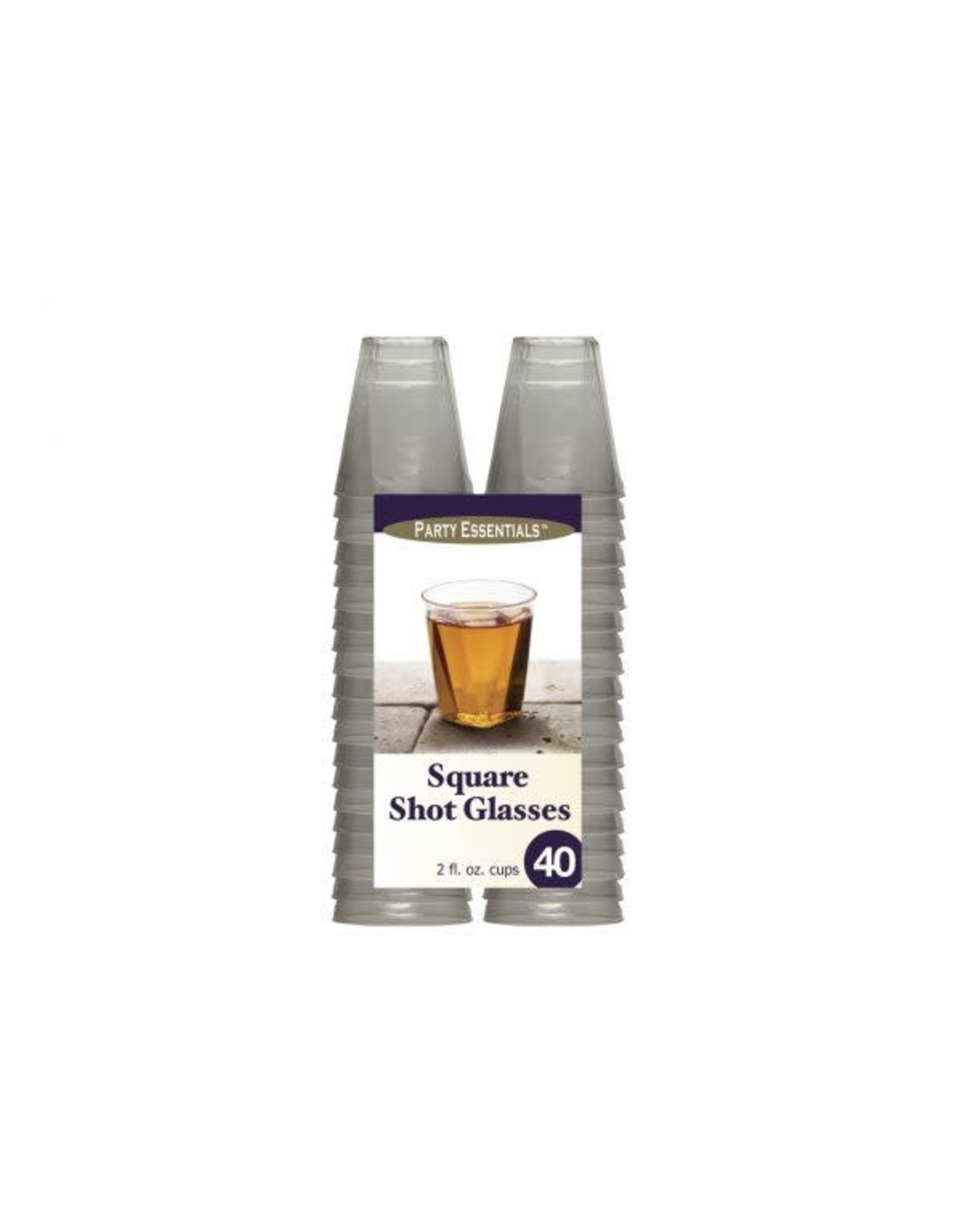 Party Essentials 2 oz. Square Clear Shot Glasses - 40 Ct.