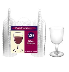 Party Essentials 5.5 oz. 2 pc. Wine Glasses - Clear 20 Ct.